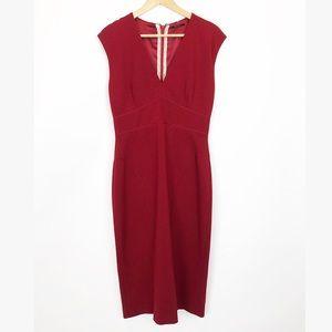 Elie Tahari Dress Size 10 Cap Sleeve Sheath V-Neck